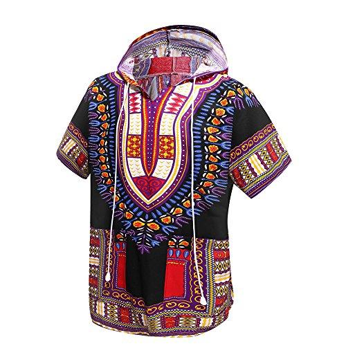 Orang Dashiki-Shirt im afrikanischen/indianischen Stil, traditionelle Kleidung, Unisex mit Kapuze, Einheitsgröße Gr. Einheitsgröße, Schwarz und Violett