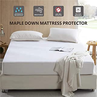 Maple Down Mattress Protector, Queen Size, 100% Waterproof Mattress Cover Bedcover, Breathable & Noiseless Cotton Terry Fabric, Vinyl-Free