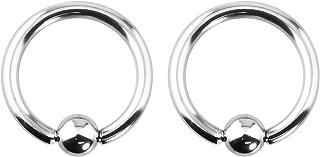 Forbidden Body Jewelry 2pcs 12g-0g Large Gauge Size Captive Bead Body Piercing Hoops, Surgical Steel (Select Gauge/Diameter)