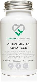 LLS Curcumin 95 Advanced | Curcumina de alta resistencia (el componente activo de la cúrcuma) que contiene SOLO CURCUMINA ACTIVA con 95% de curcuminoides + BioPerine®, vitamina D3, tomate y raíz de jengibre