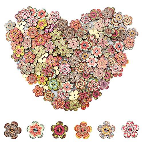 burkfeeg 100 Pieza Botones de Madera Retro Botones en Forma Flor Botón Retro Colorido Botones para Costura de Ropa y Artesanía De Bricolaje Decoración (20mm)
