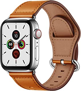 OUHENG Compatible with Apple Watch Band 42mm 44mm, Genuine Leather Band Replacement Wristband Strap Compatible with iWatch Series 5 4 3 2 1 44mm 42mm, Brown