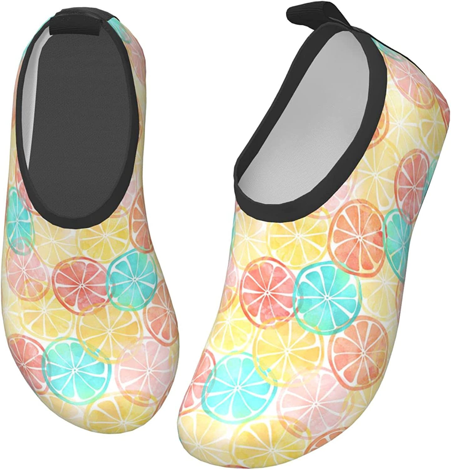 Jedenkuku Blue Pink Red Yellow Lemon Fruit Children's Water Shoes Feel Barefoot for Swimming Beach Boating Surfing Yoga
