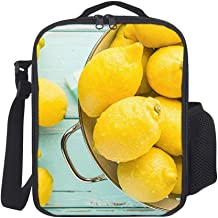 Hatmore-Portable Thermal Insulation and Cold Preservation Dinner Lunch Bags Tote for Work Travel School Picnic,Yellow Lemon Summer