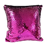 Trlyc 16 X 16-Inch Two Colors Mermaid Sequin Pillow Cover DIY Magic Colors Change Cushion Fushia and Silver Insert not Included