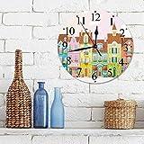 Big horn deer Silencioso Wall Clock Decoración de hogar de Reloj de Redondo,Casas Vintage y Retro pequeñas Empresas Panadería Pescadería Cafeterí,para Hogar, Sala de Estar, el Aula