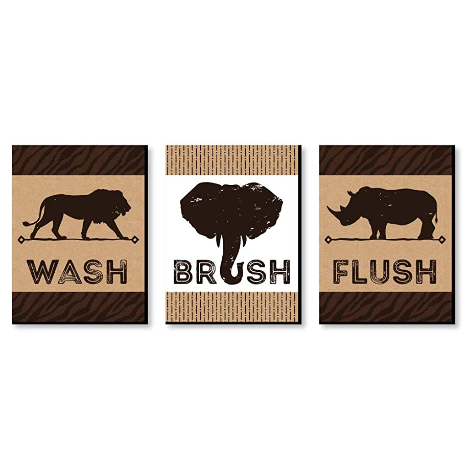 "Wild Safari - Kids Bathroom Rules Wall Art - 7.5"" x 10"" - Set of 3 Signs - Wash, Brush, Flush"