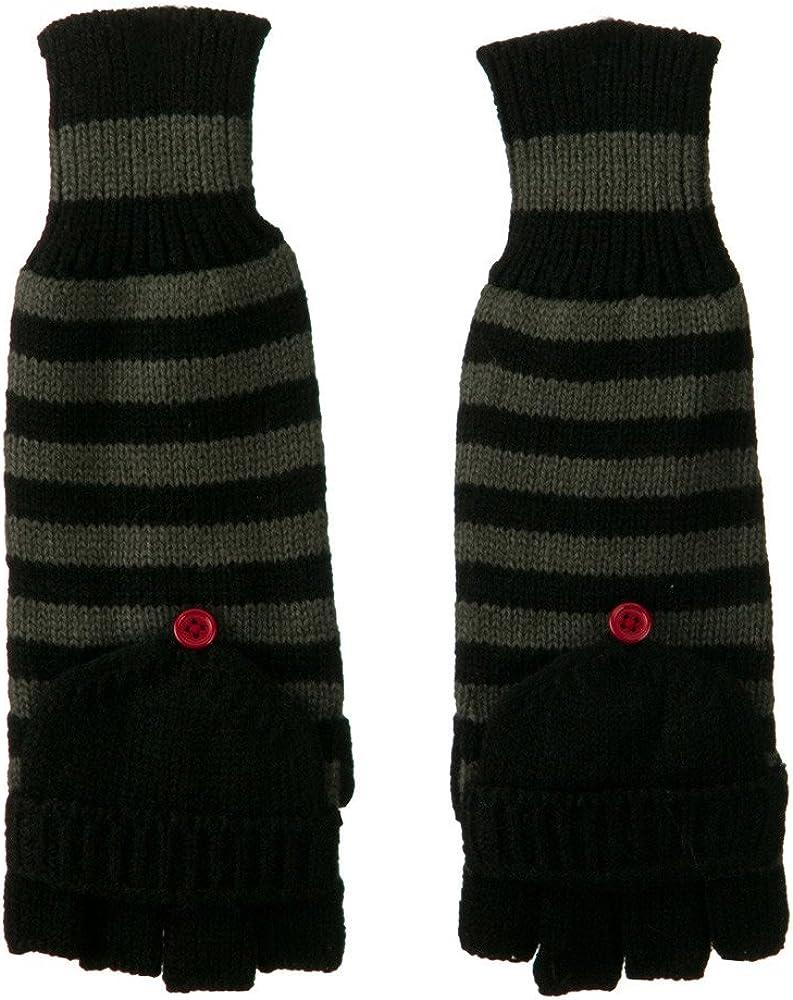 11 Inches Striped Fingerless Flip Top Glove - Black Grey W17S42B