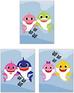 Summit Designs Baby Shark Kids Wall Art Decor - Set of 3 (8x10) Unframed Poster Photos - Bedroom Playroom