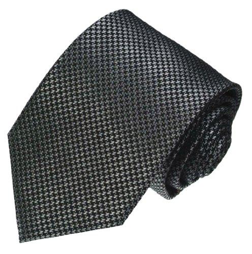 Lorenzo Cana - Original Marken Krawatte aus 100{b4d20a66c3bbf4f1dfbf54447cb0e016412ef7b34e0e1c4be5eaf17cab79fc24} Seide mit Hahnentritt Muster schwarz silber grau - 84474