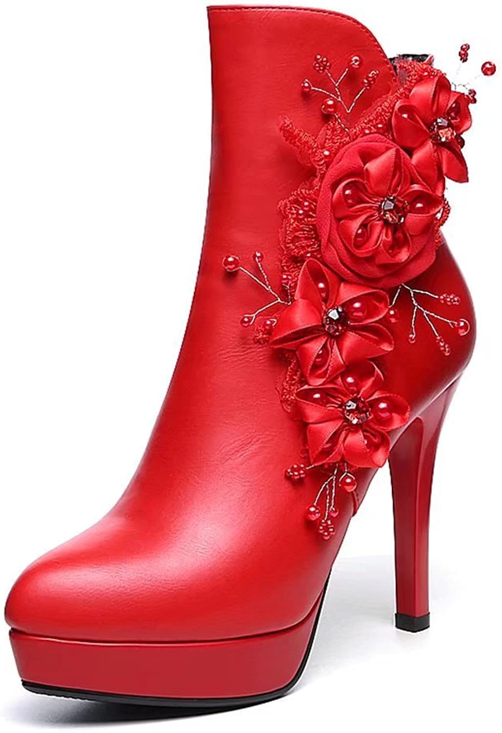 VIMISAOI Women's Platform High Heel Boots Pointed Toe Red Wedding Party Zipper Appliques Ankle Boots