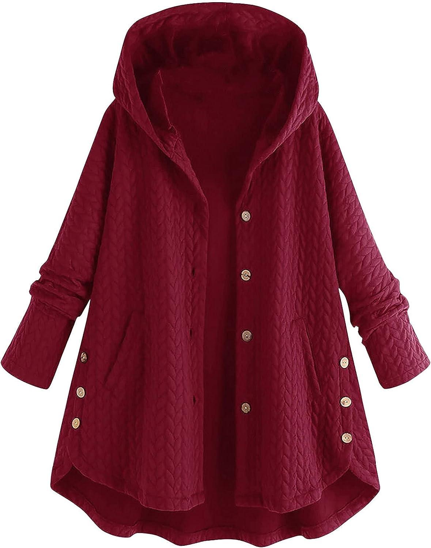 Oversized Women Button Down Knitwear Hoodie Coats Baggy Ribbed Irregular Hem Long Sleeves Warm Hooded Overcoat Jacket