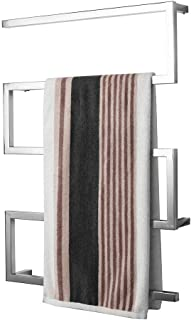 Stainless Steel Electric Heated Towel Rail, Wall-Mounted Bathroom Towel Warmer, Hardwired and Plug in Options, 900 x 650 mm - Polishing