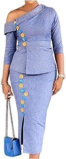 VITryst 女性OL傾斜ショルダーキャリアシルムフィット2ピースソリッドカラースカートセット