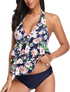 Women's Tankini Swimsuits, Floral Tankinis with Shorts Two Piece Swimswear Set