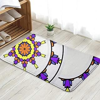 Set Ornamental Floral Round Frame The Arts Clear Doormat Entrance Mat Floor Mat Rug Indoor/Outdoor/Front Door/Bathroom Mats Rubber Non Slip 23.6 X 15.8 Inch