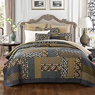 DECMAY 3 Piece Real Patchwork 100% Cotton Bedspread King Size Vintage Plaid Floral Daybed Bedding Sets Light Weight Reversible Quilt Luxury Matelasse Bed Coverlet Set with Shams