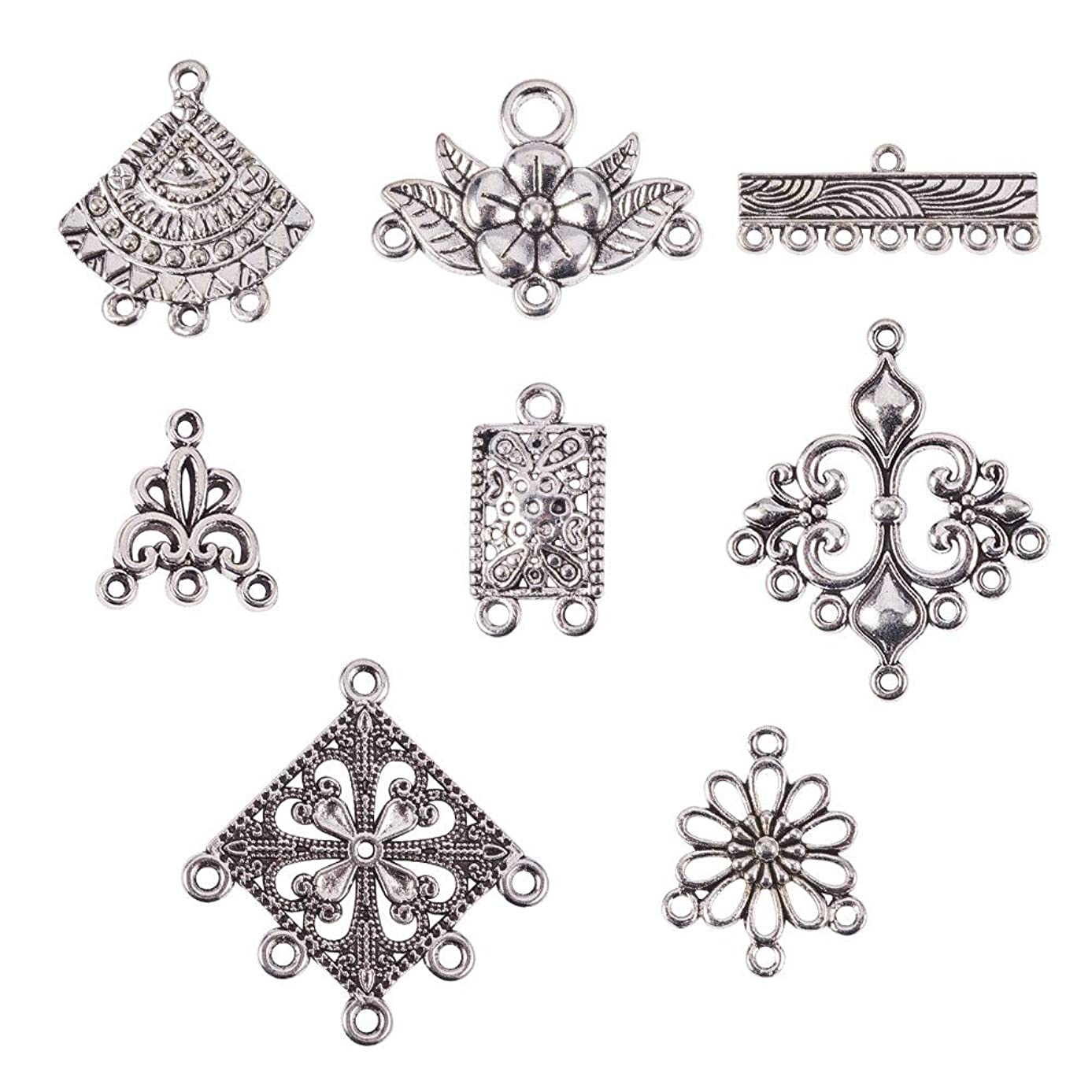 PandaHall Elite 120 pcs 8 Shapes Tibetan Style Chandelier Component Links Charm Pendant Connectors for Earring DIY Jewelry Making, Antique Silver