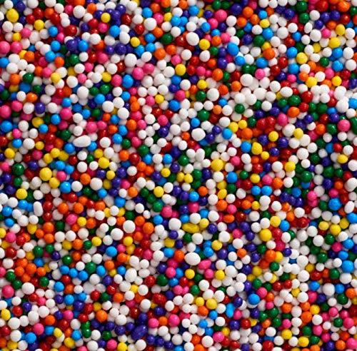 Sprinkle Deco Rainbow Nonpareils Mini Round Balls Confetti Sprinkles Toppings for Cake Cookie Cupcake IceCream Donut 6oz