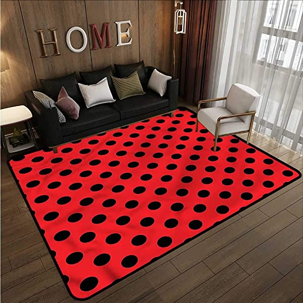 Kids Rug Red And Black Pop Art Polka Dots Rustic Home Decor 4 7 X5 3