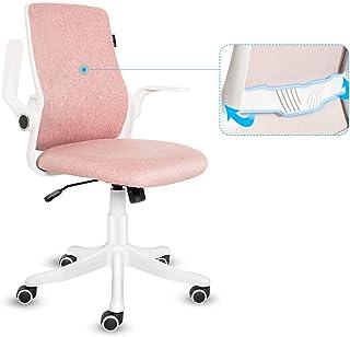 Artethys - Silla de escritorio con reposabrazos abatible, silla de ordenador ergonómica, función de inclinación a 30° con soporte lumbar color rosa
