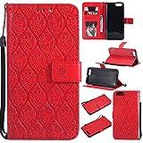 pinlu® Funda para Xiaomi Mi6 Smartphone Plegado Flip Billetera Carcasa Retro PU Leather Cover Función de Soporte con Ranura Case Rayas de Ratán Rojo