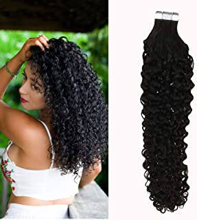 Moresoo Brazilian Remy Tape in Curly Hair Extensions 22 Inch Off Black Color #1B Unprocessed Soft and Silky Remy Human Hair 20pcs/50g Glue in Hair Extensions Kinky Curly