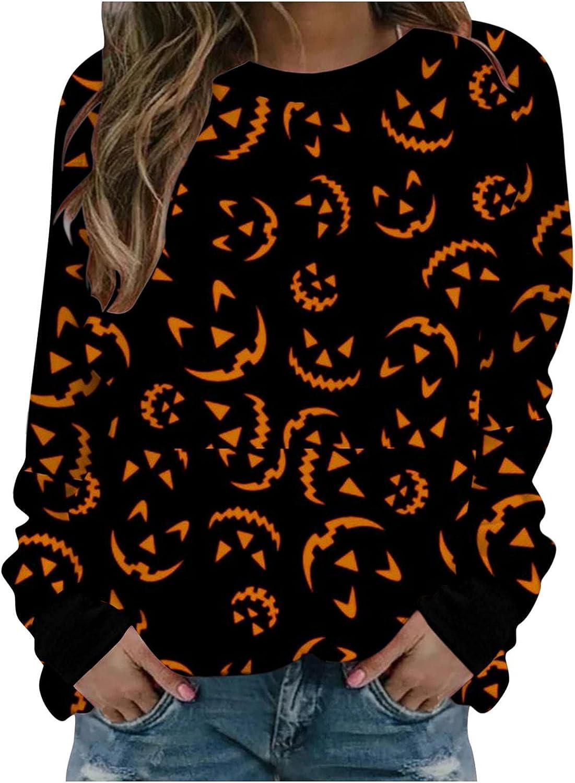 AODONG Halloween Shirts for Women, Womens Sweatshirts Halloween Printed Crewneck Long Sleeve Sweatshirt Fashion Pullover