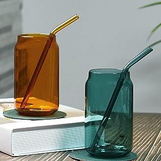 Highballglas drickande, vattensjuiceglas, premium höga tumlare med glasstrå, borosilikatisoleringsglasögon, högt barglas, ...