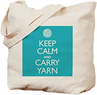 CafePress Turquoise Keep Calm And Carry Yarn Natural Canvas Tote Bag, Reusable Shopping Bag