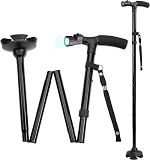 Walking Cane with Led Light - Adjustable 37 Inch Folding Canes and Walking Sticks, Collapsible Daily Mobility Canes with Rubber Feetfor Men and Women, Black