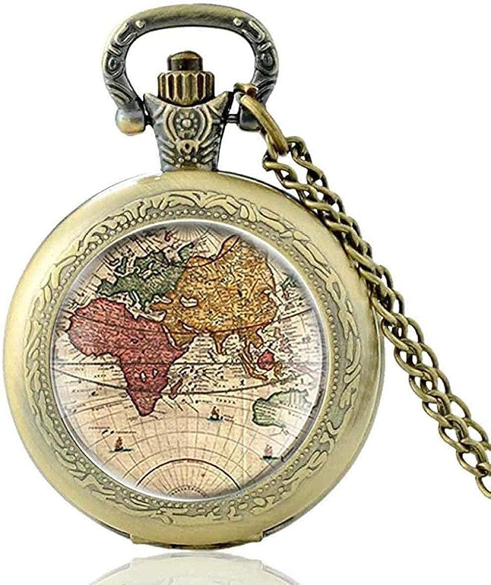Collar vintage mapa del mundo cúpula de cristal reloj de bolsillo de cuarzo clásico hombres mujeres collar de bronce colgante regalos