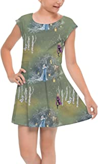 Rainbow Rules Enchanted Forest Frozen 2 Disney Inspired Girls Cap Sleeve Pleated Dress Skater