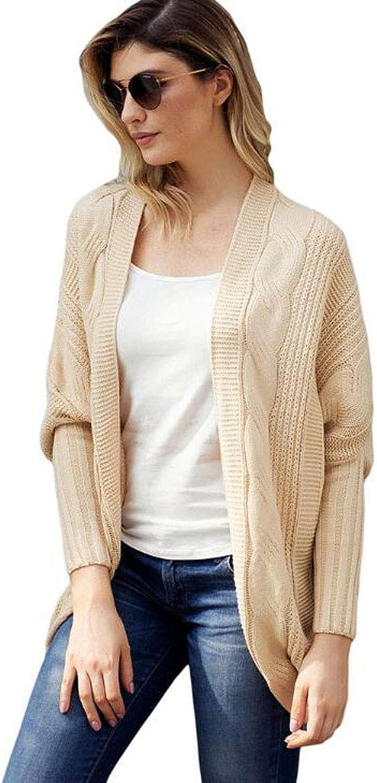 Women's Cardigan,Bat Long Sleeve Loose Sweater Warm and Comfortable Knit Cardigan (color   Khaki, Size   4XL)