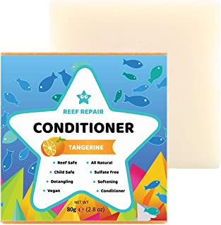 Reef Safe Conditioner Bar - Tangerine. All Natural Vegan Conditioner, Detangling, Softening, Biodegradable, Family Safe. Silicone/Sulfate Free Ocean Safe Conditioner Bar from Reef Repair 80g