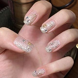 YERTTER 24pcs Rhinestones Crystal Moon and Stars Design False Nails for Women Ladies and Girls Square Head Short Fingernai...