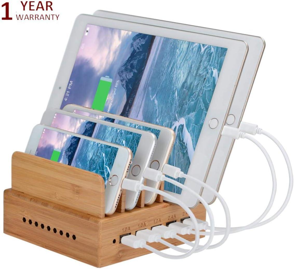 Yisen - Estación de Carga para iPhone, iPad, teléfonos móviles universales, tabletas y Otros Dispositivos con Carga USB (con Cable de alimentación de Enchufe británico)