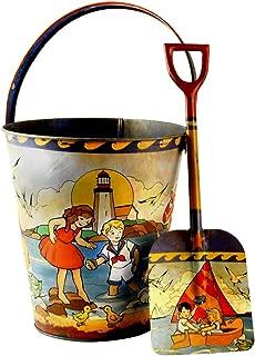 Vintage Sand Pail and Shovel Set - Vintage Beach Toys Lighthouse & Children Artwork - Retro Childrens Toys & Decor