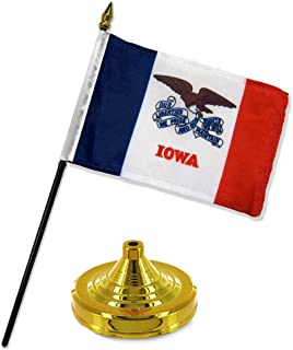 ALBATROS Iowa State Flag 4 inch x 6 inch Desk Set Table Stick with Gold Base for Home and Parades, Official Party, All Weather Indoors Outdoors