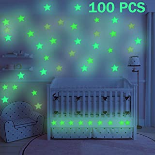 GOODBUY Star Luminous Stickers, 100 PCS Fluorescent Stars Wall Stickers, Glow in The Dark Stars Wall Stickers for Home Art Decor Ceiling Wall Decorate Kids Babys Bedroom Decorations(Blue)