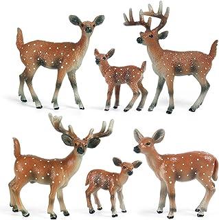 Mini Wild Animals, Birthday Party Supplies, Animal Figurine Set Toys, 6 Packs, Sika Deer Toys, Cake Toppers, Birthday Gift...