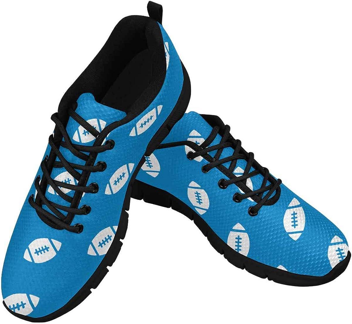INTERESTPRINT American Football Light Blue Women's Lace Up Running Comfort Sports Sneakers
