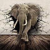 ZLYYH 3D Wallpaper Wandbild,3D-Tier Elefanten Broken Wall