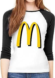 Womens Classic McDonalds Logo Tee T Shirt 3/4 Sleeve T-Shirt Sport Tshirt for Women Clothes