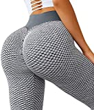 Jenbou High Waist Yoga Pants Ruched Butt Lifting Workout Leggings for Women Stretchy Tummy Control Booty Tights