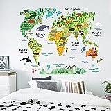 Zooarts adhesivo de pared de habitación infantil, diseño de mapamundi con animales