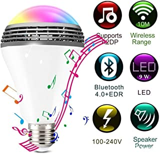 Bluetooth Light Bulb Speaker, E27 9W RGB Changing App Controlled LED Light, No Hub Required