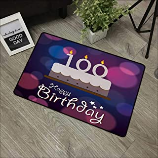 Interior mat W24 x L35 INCH 100th Birthday,Cartoon Print Cake and Candles on Abstract Backdrop Image Artwork Print,Purple and Pink with Non-Slip Backing Door Mat Carpet