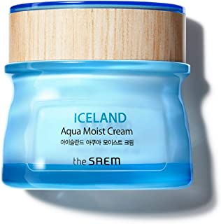 [the SAEM] Iceland Aqua Moist Cream 60ml - Moisture Coating Hydrating Facial Cream with Iceland Mineral Water for Dry Skin, Hypoallergenic Safe Formula
