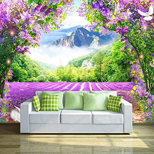 JINHECH Fototapete Lila Lavendel 300 x 210 cm Selbstklebend Tapete Wandtapete Wohnzimmer Schlafzimmer Moderne Wandbilder Wand Dekoration